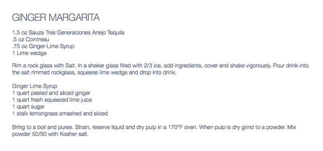 ginger margarita recipe by Jean-Georges